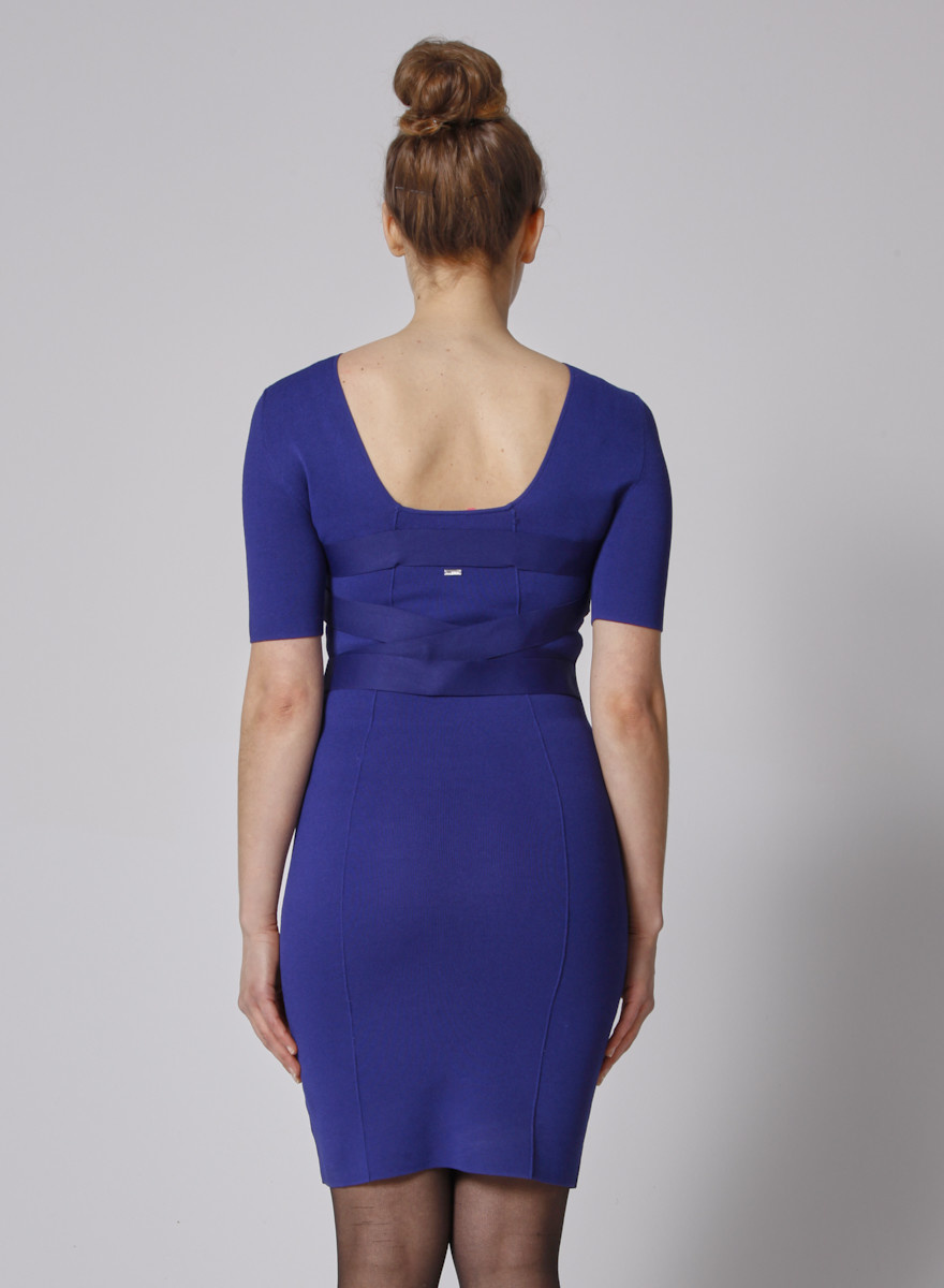 Klein blue Body con dress with Elastic lacing at waist