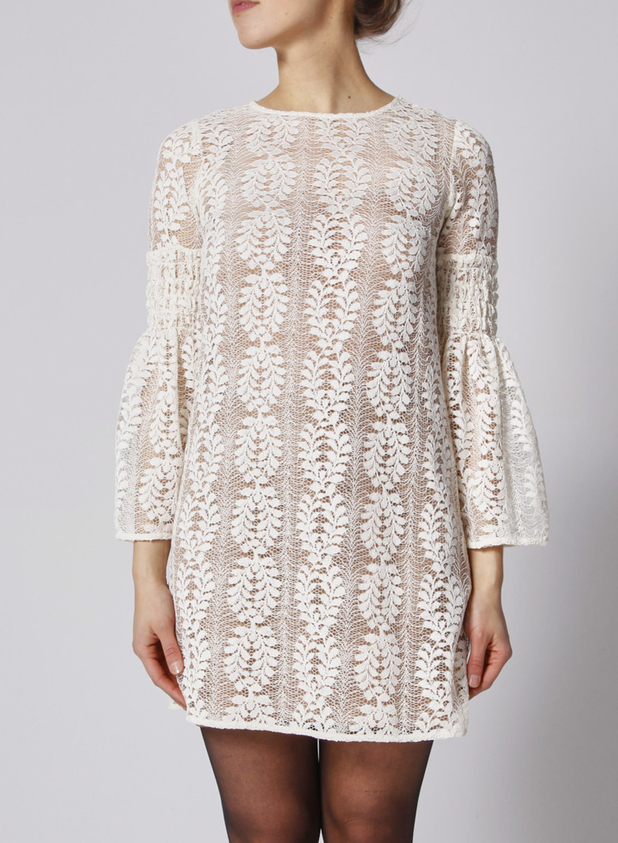 MICHAEL Michael Kors White Lace dress with Nude Lining