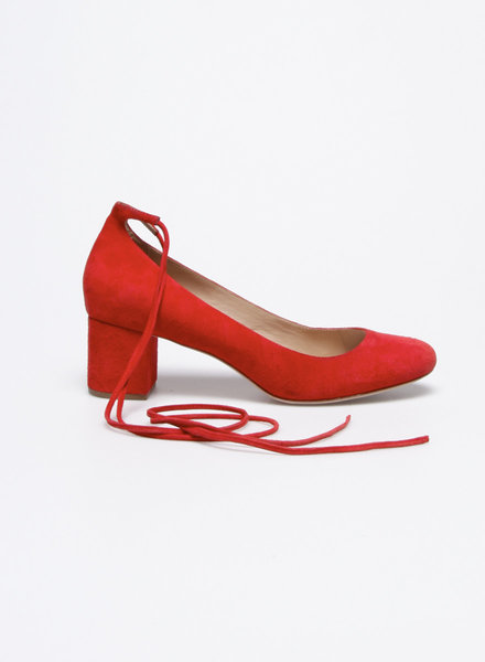 Loeffler Randall RED LACE-UP SUEDE PUMPS
