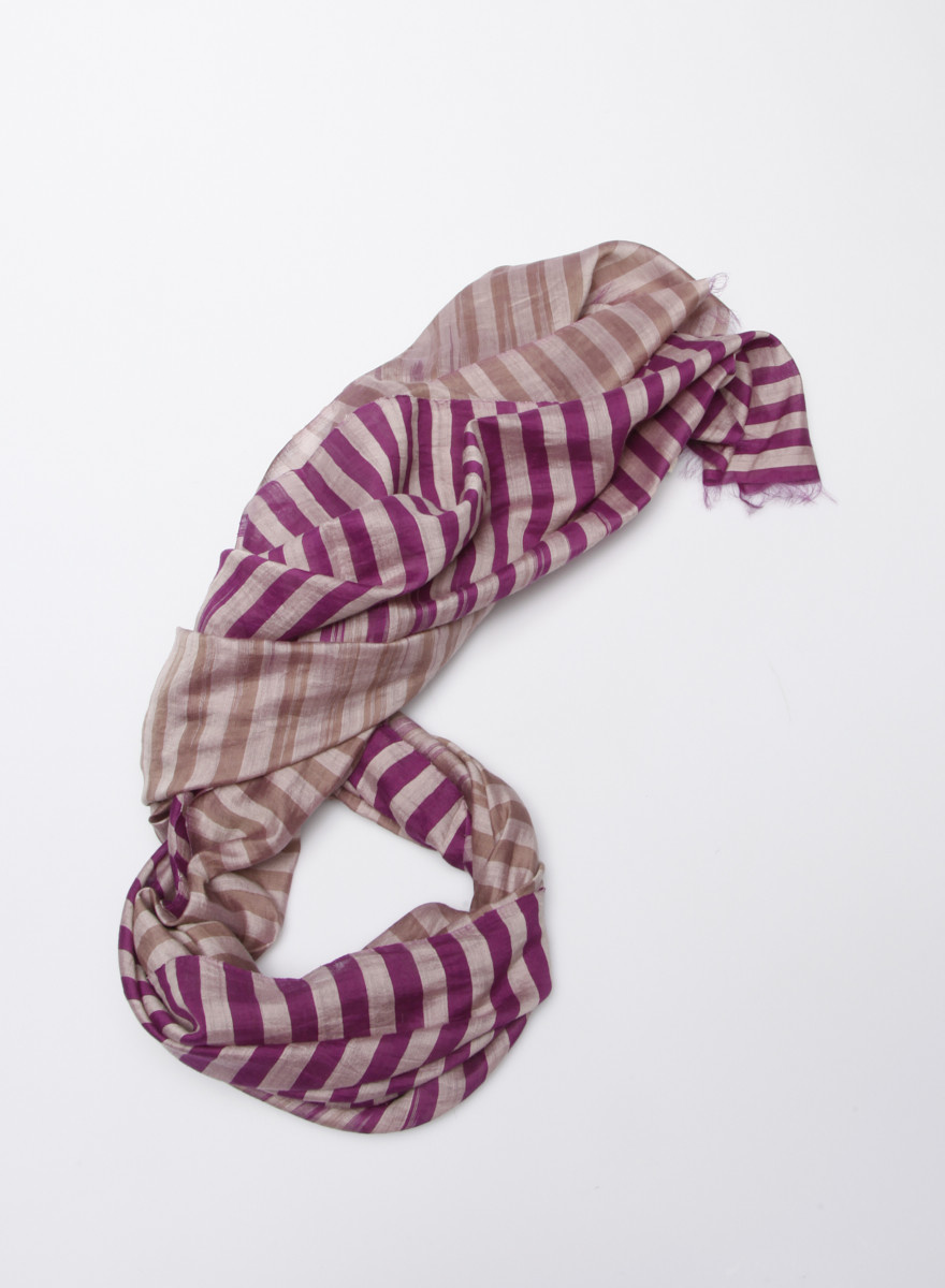 Eileen Fisher Organic Cotton and Silk Striped Scarf - New
