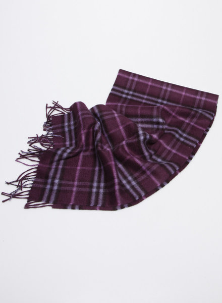 Burberry PURPLE BURBERRY CHECKED CASHMERE SCARF