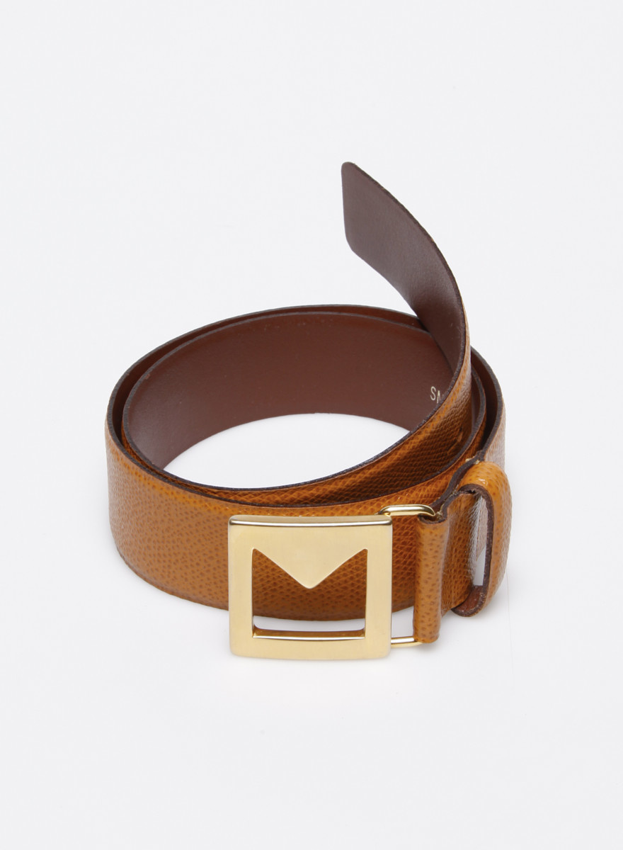 MaxMara Brown Leather Belt with Gold-Tone Buckle
