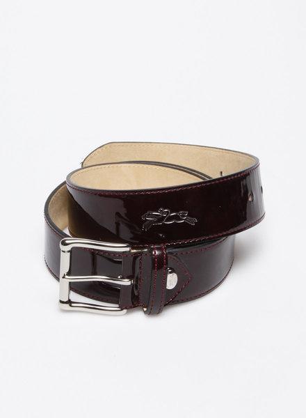 Longchamp CEINTURE AUBERGINE EN CUIR VERNI