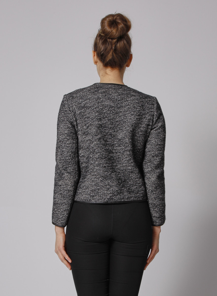 Sandro Grey Faux Leather-Trimmed Tweed Jacket