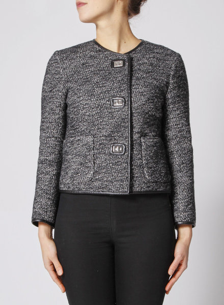 Sandro NEW PRICE (WAS $109,50) - GREY FAUX LEATHER-TRIMMED TWEED JACKET