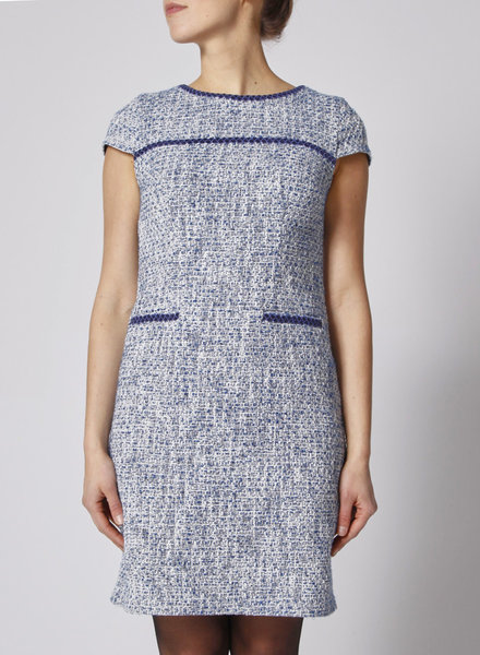Karl Lagerfeld WHITE AND BLUE TWEED DRESS