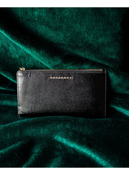 Burberry BLACK PATENT TEXTURED-LEATHER WALLET