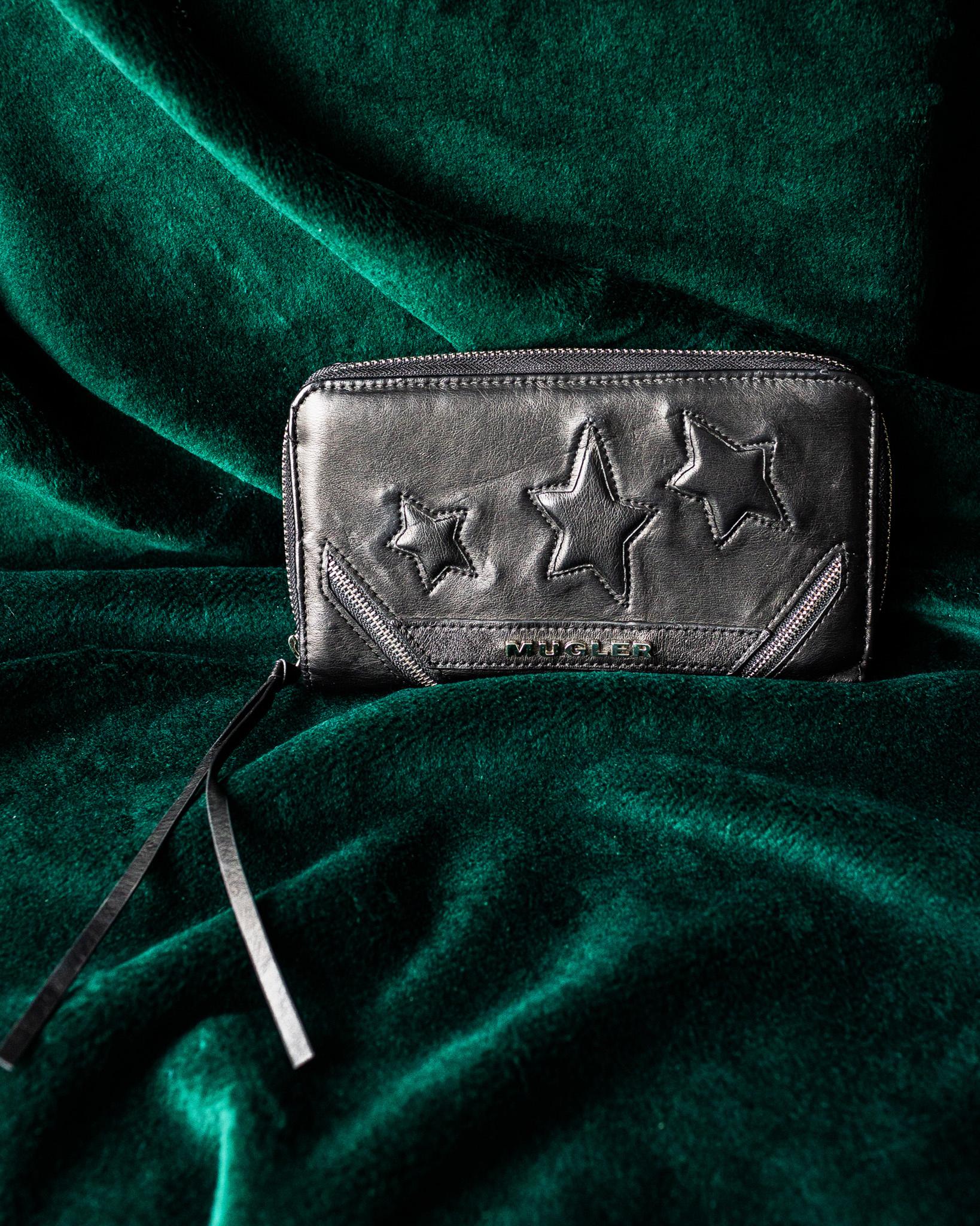Mugler Black Vegan Leather Wallet
