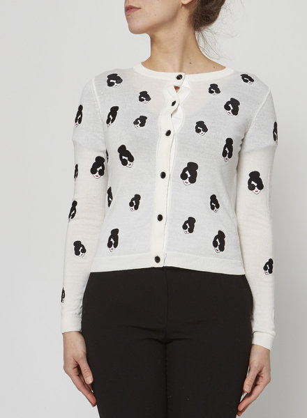 Alice + Olivia WHITE CARDIGAN WITH EMBROIDERED FACE