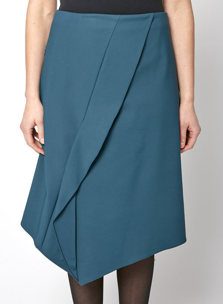 Tibi EMERALD GREEN RUFFLED MIDI SKIRT - NEW