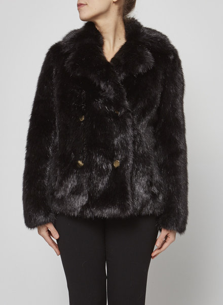 MICHAEL Michael Kors BLACK FAUX-FUR COAT