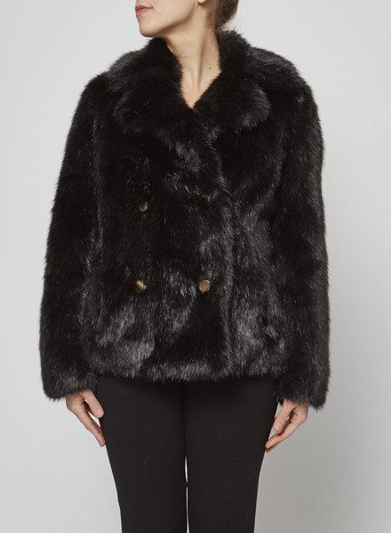 MICHAEL Michael Kors SALE (WAS $180) - BLACK FAUX-FUR COAT