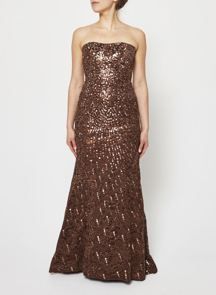 Carolina Herrera BRONZE EMBELLISHED STRAPLESS EVENING DRESS