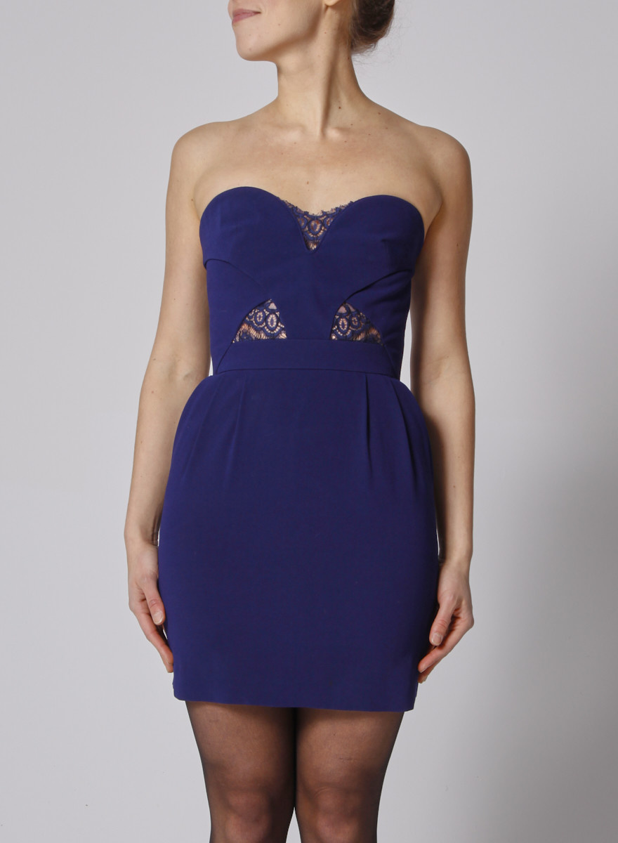 The Kooples Indigo strapless dress with lace yokes