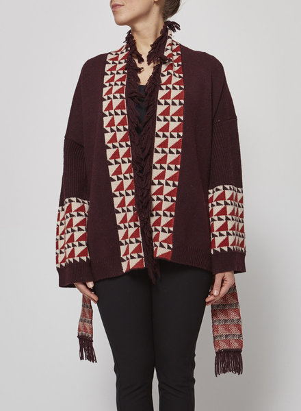 Charli BURGUNDY CARDIGAN WITH GEOMETRIC PATTERNS - NEW WITH TAG