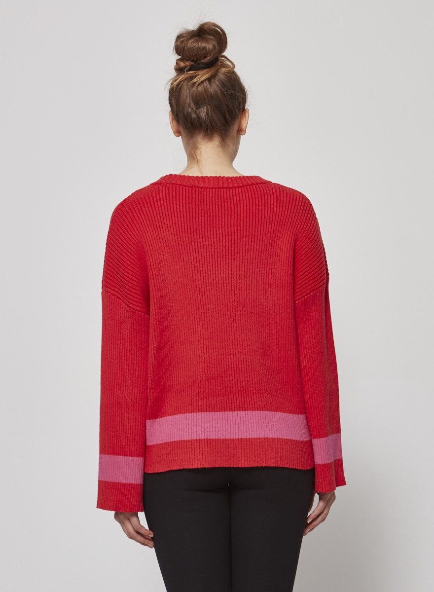 SEN Red and pink sweater with zippers
