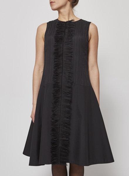 Marie Saint Pierre BLACK PLEATED SLEEVELESS DRESS