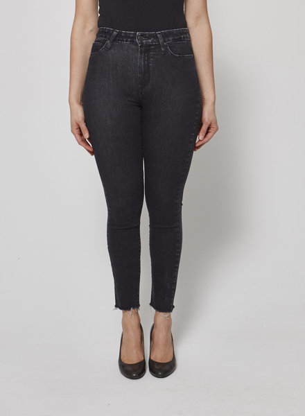 Paige BLACK HIGH WAISTED WORN EFFECT JEANS