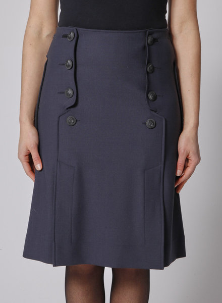"Cédric Charlier DARK BLUE SKIRT WITH ""ANCHOR"" BUTTONS"