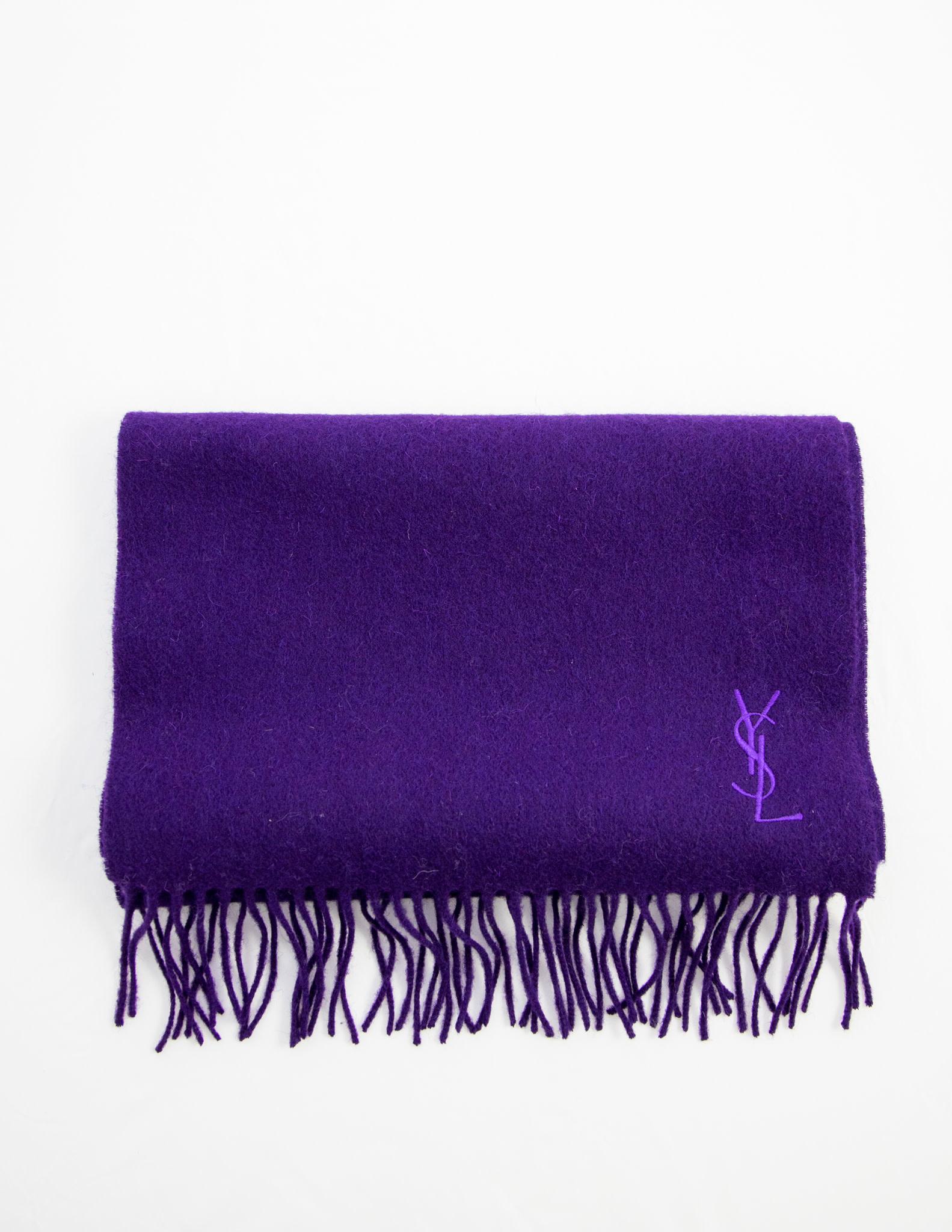 Yves Saint Laurent Purple Wool Scarf