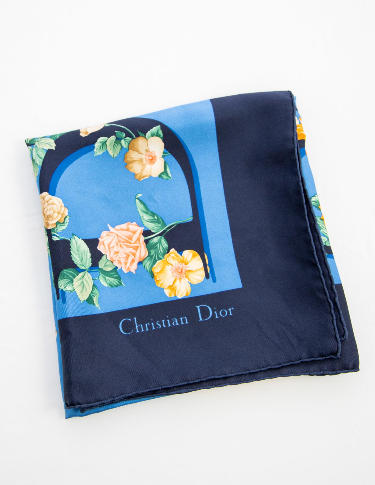 Christian Dior Floral Print Silk Scarf