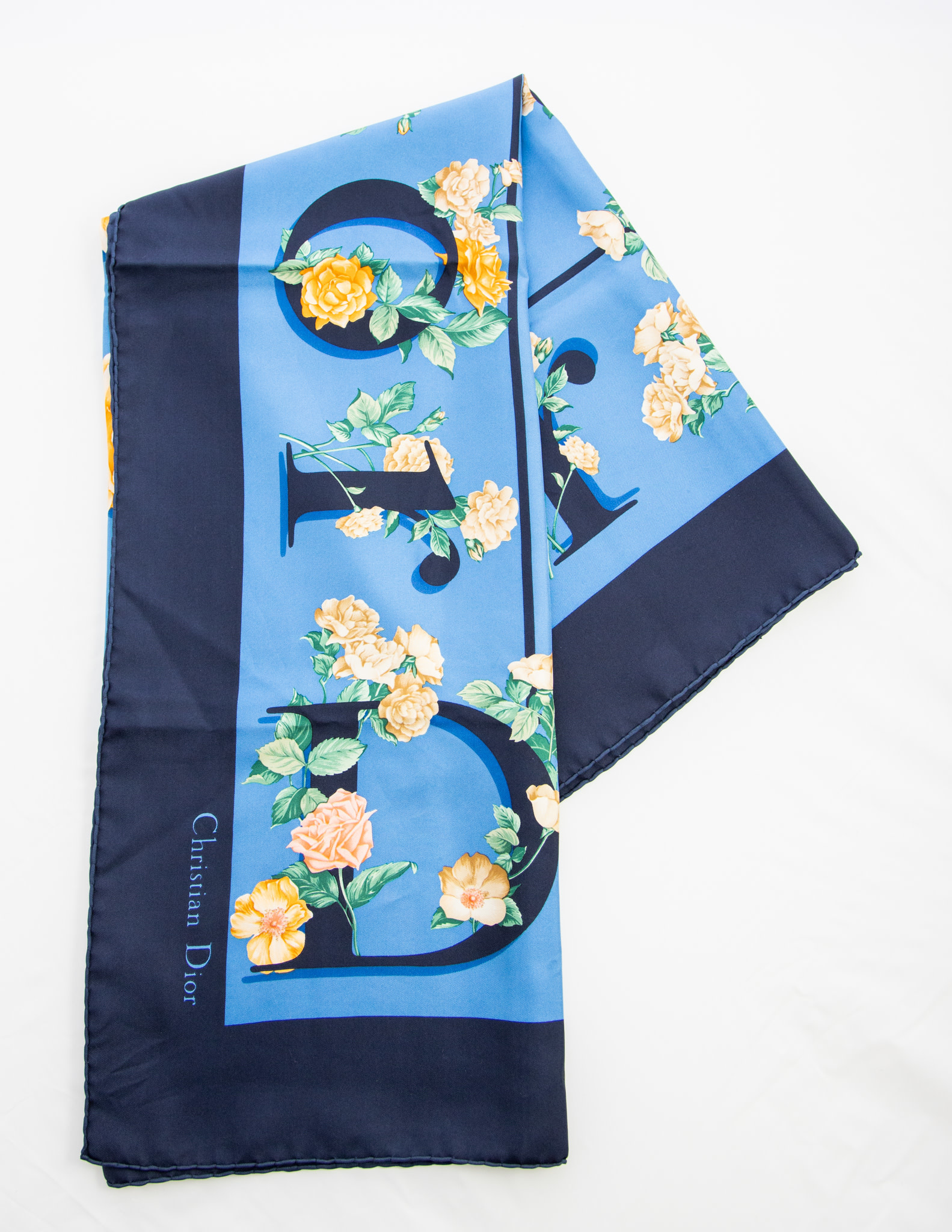 Christian Dior Carré de soie bleu imprimé fleuri
