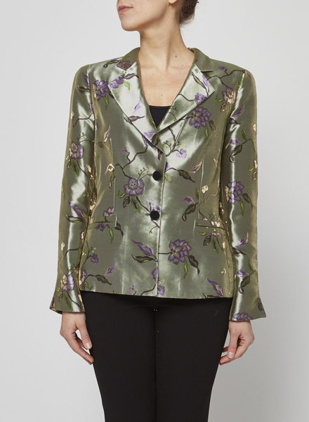 Armani Collection GREEN FLORAL JACQUARD BLAZER