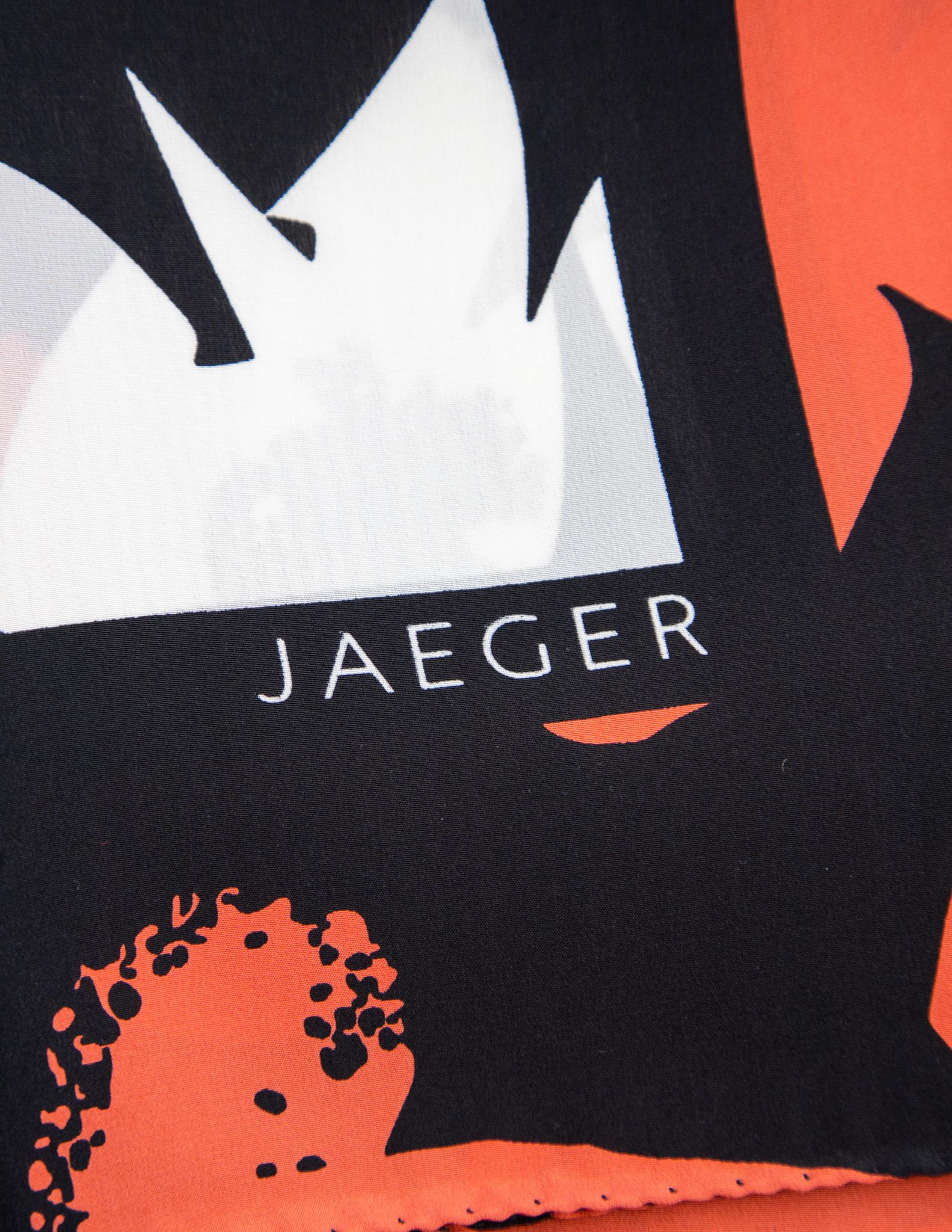 Jaeger London Carré de soie orangé, blanc et noir