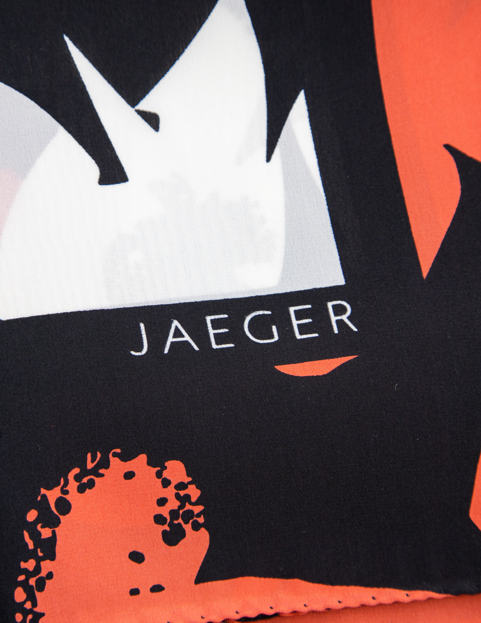Jaeger London WHITE, BLACK & ORANGE SILK SCARF