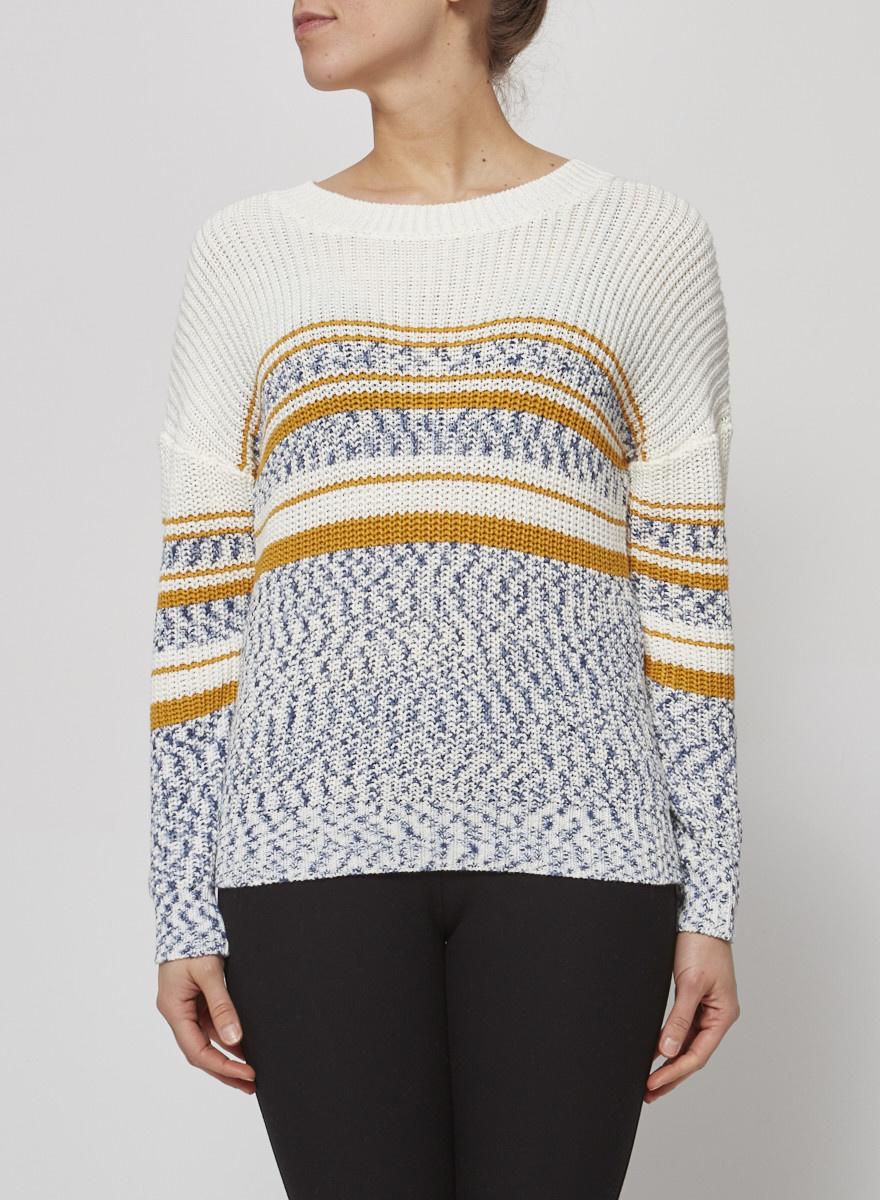 Heartloom Pull en tricot crème à détails jaune et bleu - Neuf avec étiquette