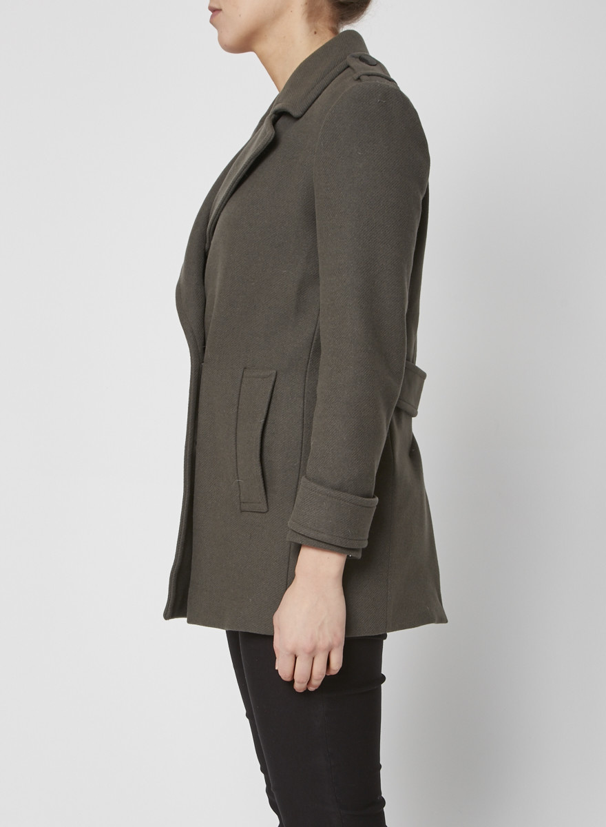 Reiss KAKI WOOL COAT