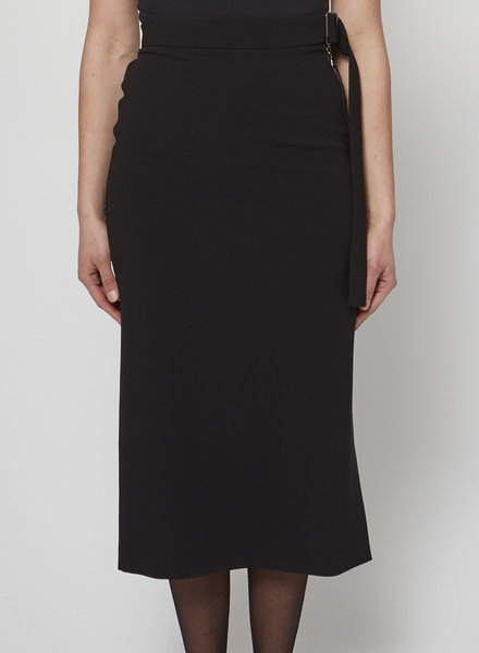 Judith & Charles BLACK MIDI SKIRT WITH ZIPPER AND ATTACHED BELT