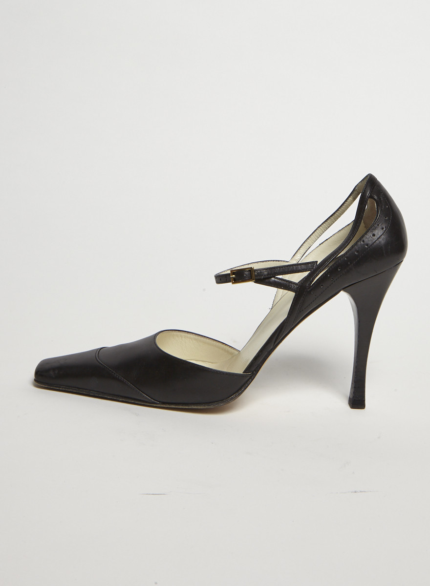 Gucci Escarpins en cuir noir bout carré