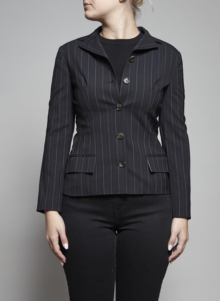 Dolce & Gabbana Black and White Striped Blazer