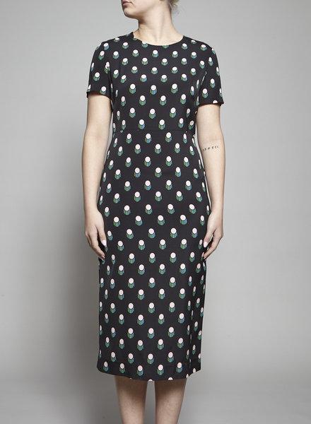 Diane von Furstenberg BLACK DRESS WITH COLORED PRINT - NEW
