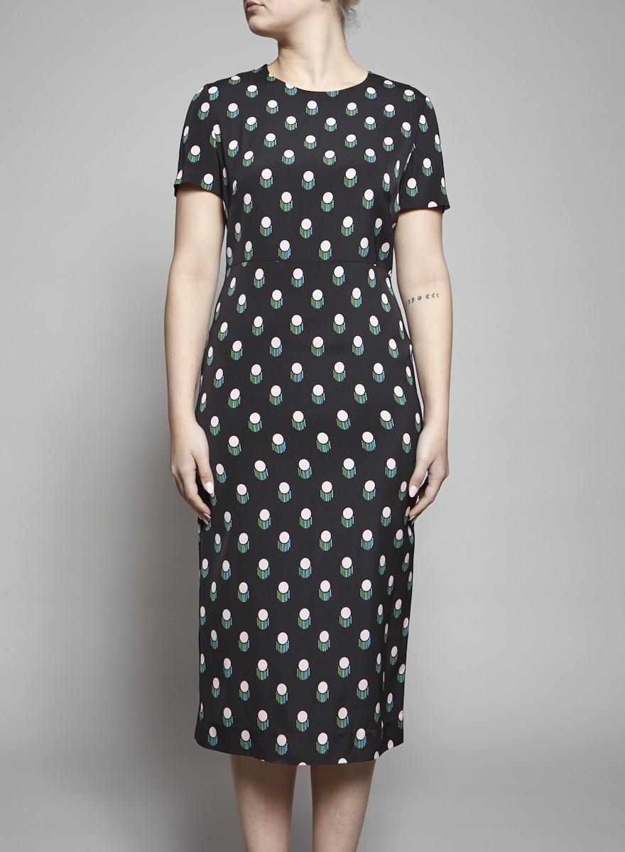 Diane von Furstenberg Robe noire à imprimé colorés - Neuf