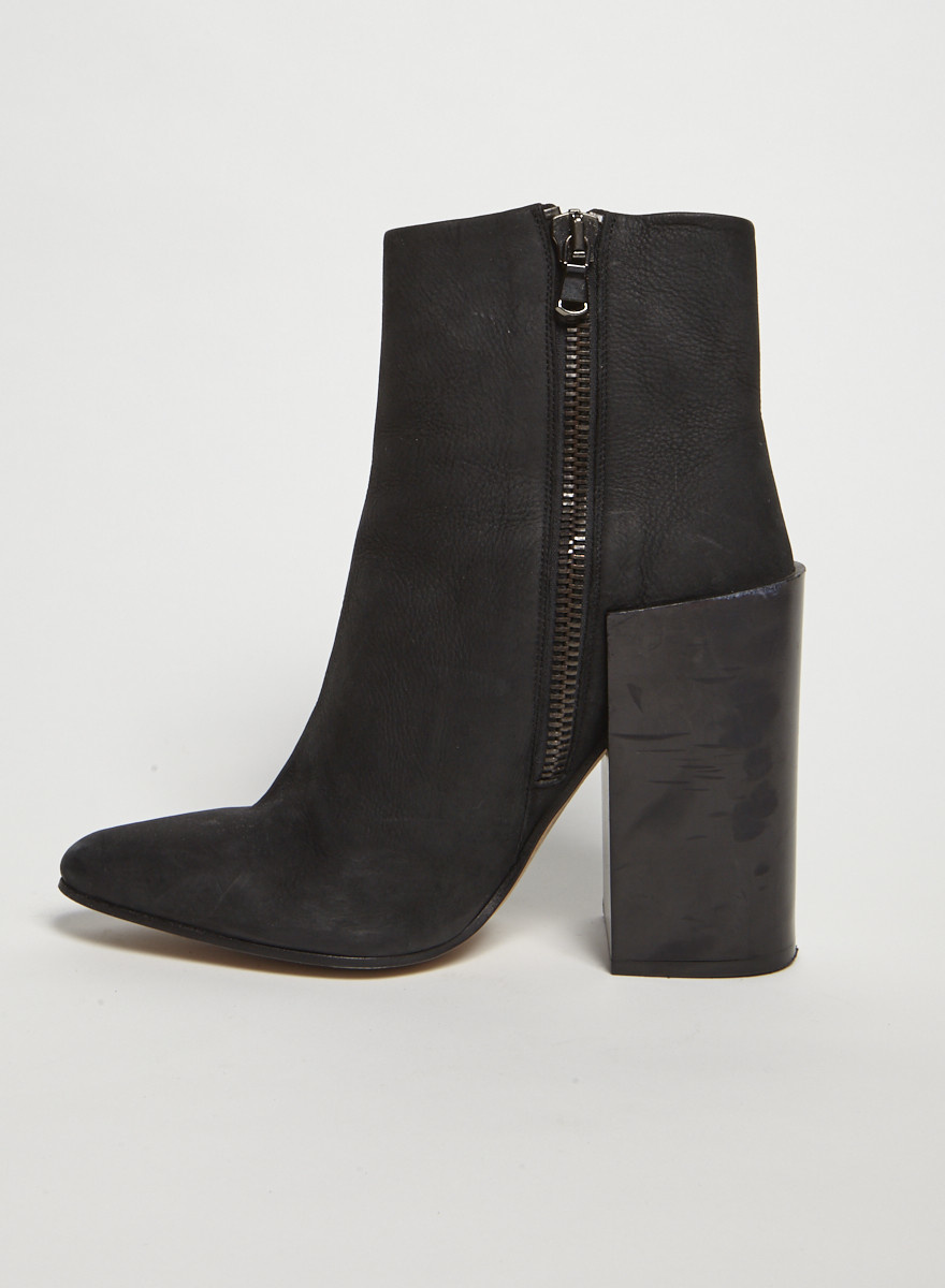 Acne Studios Black Block Heel Leather Boots