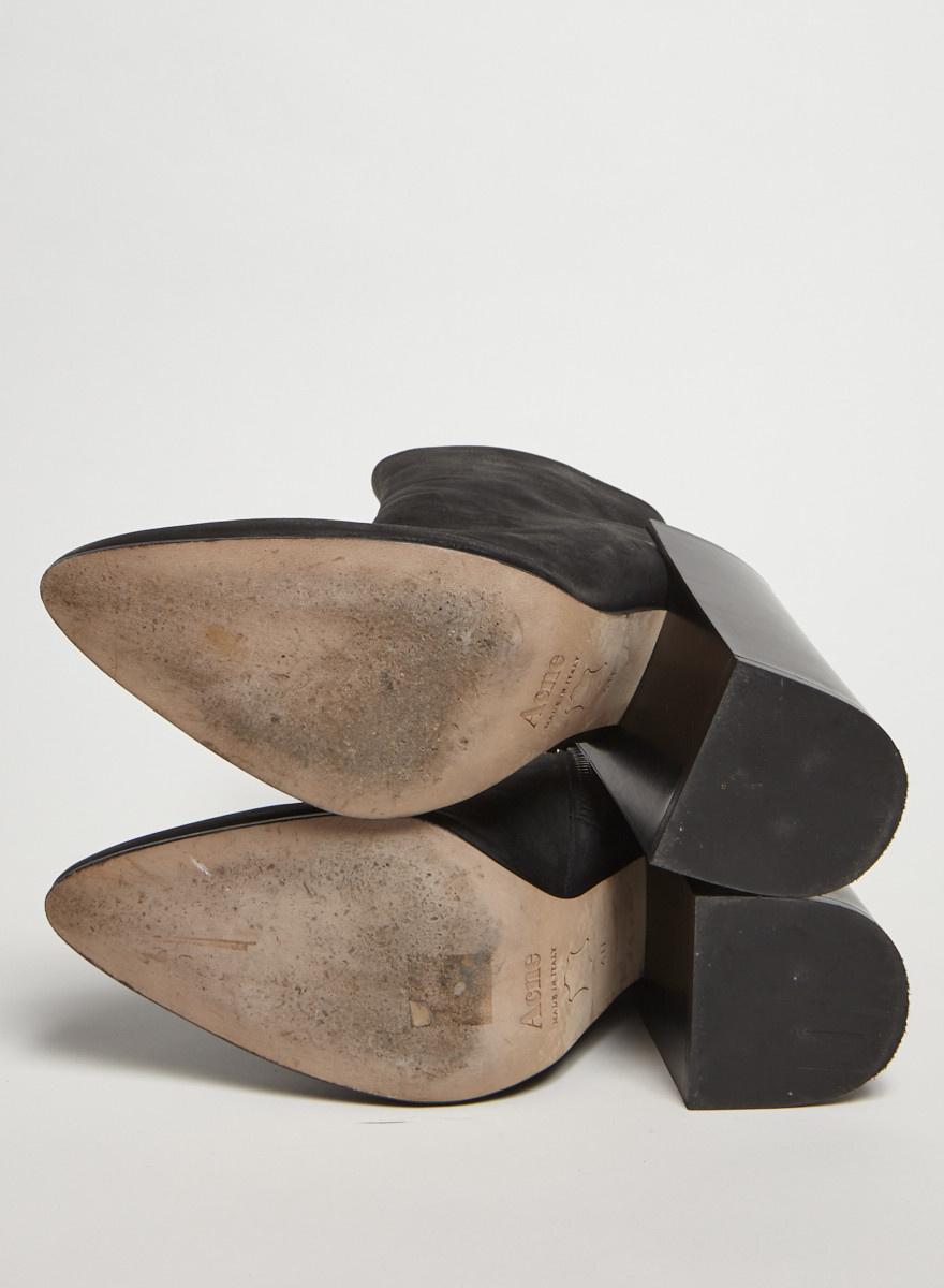 Acne Studios Bottillons noirs en cuir à talons blocs