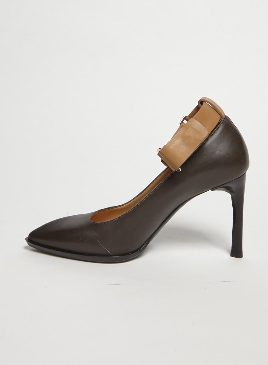 Lanvin Charcoal Ankle Strap Leather Pumps