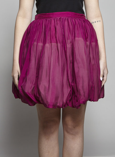 Red Valentino MAGENTA GLITTERED BALLOON SKIRT