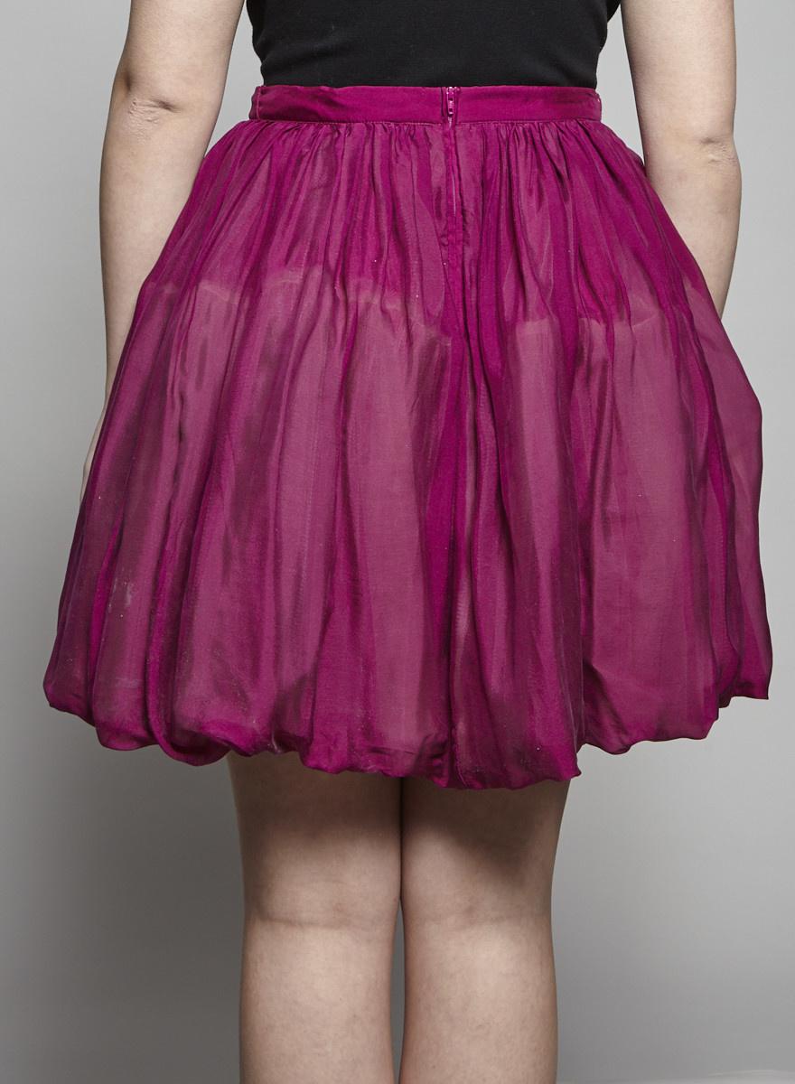 Red Valentino Jupe ballon scintillante magenta