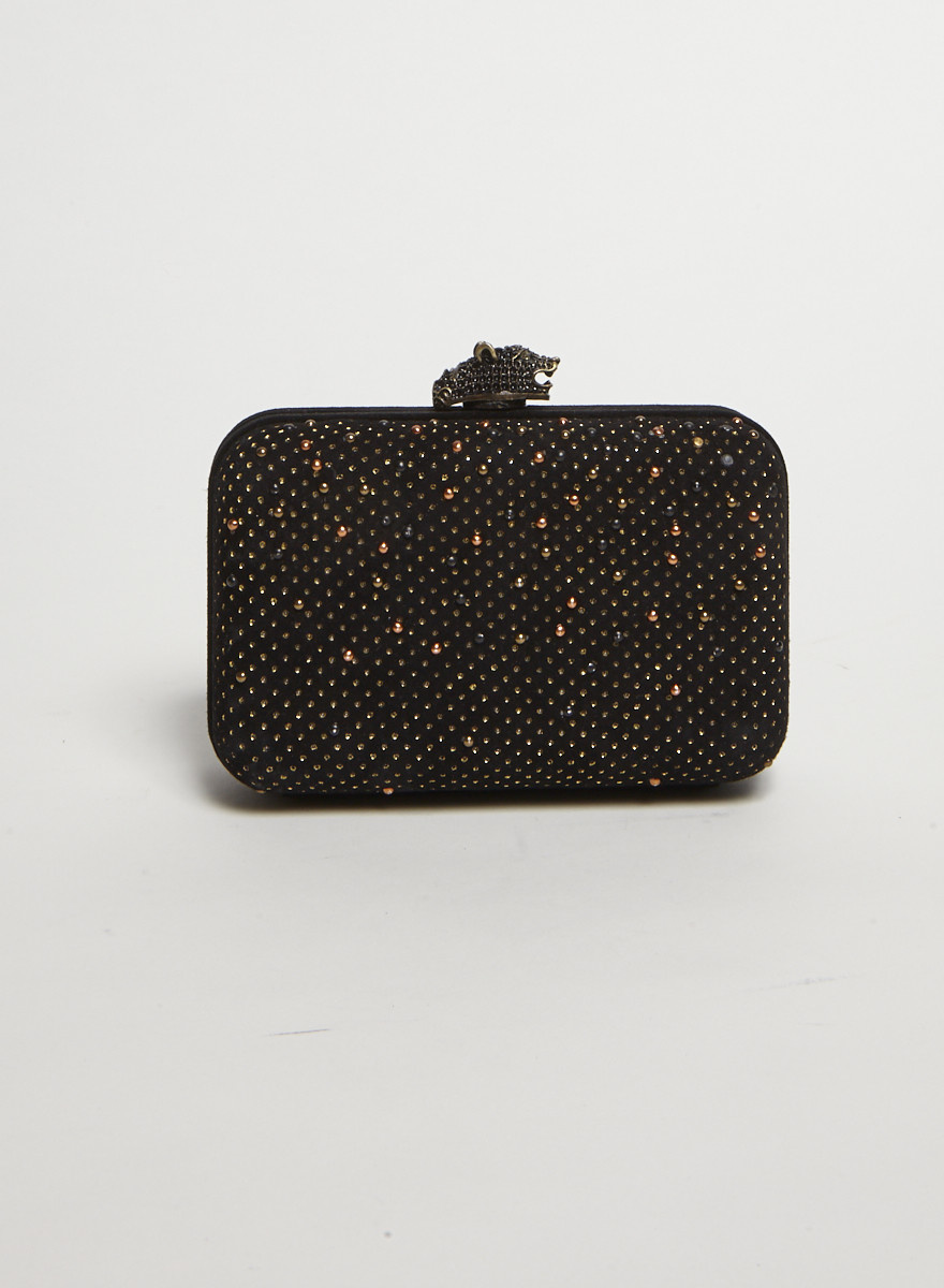 House of Harlow 1960 Black Studded Clutch Bag