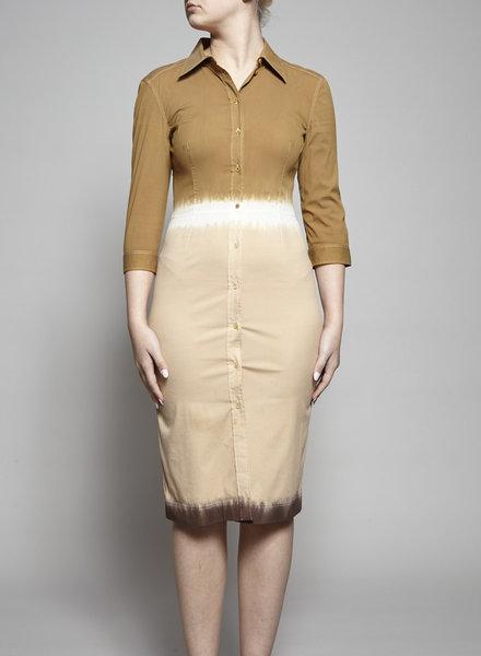 Prada BEIGE AND BROWN SHIRT DRESS