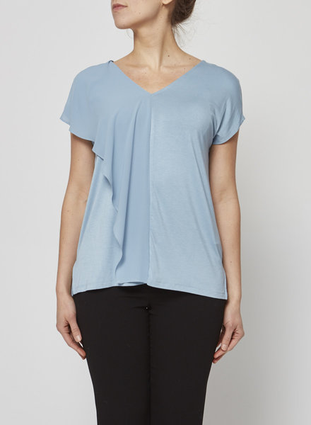 MICHAEL Michael Kors LIGHT BLUE TOP WITH CHIFFON PANEL AT FRONT