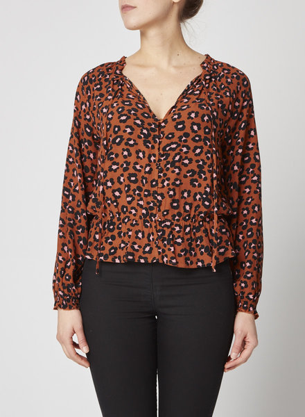 Sanctuary Clothing BROWN LEOPARD-PRINT BUTTON FRONT BLOUSE
