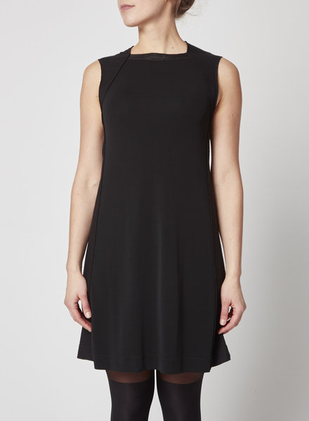 Marie Saint Pierre BLACK MIXED FABRIC DRESS WITH SEQUINED NECKLINE