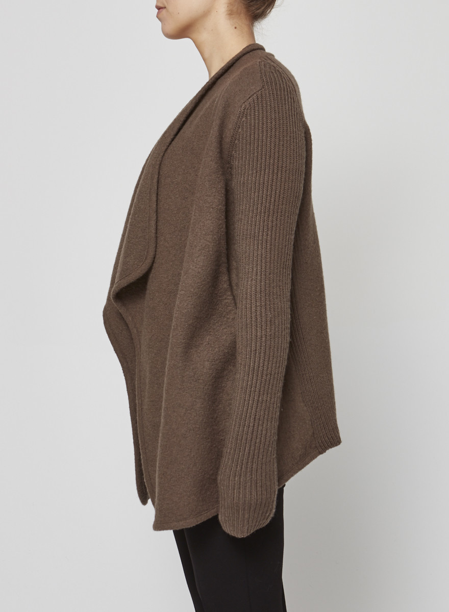Vince Brown Boiled Wool Cardigan