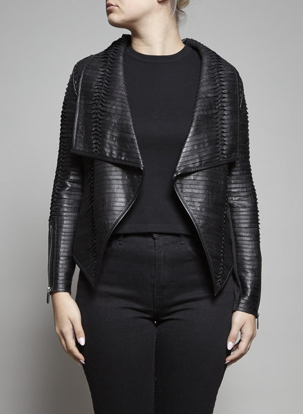 Line BLACK TIERED LEATHER JACKET - NEW
