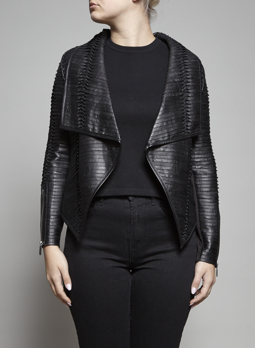 Line Black Tiered Leather Jackey - New