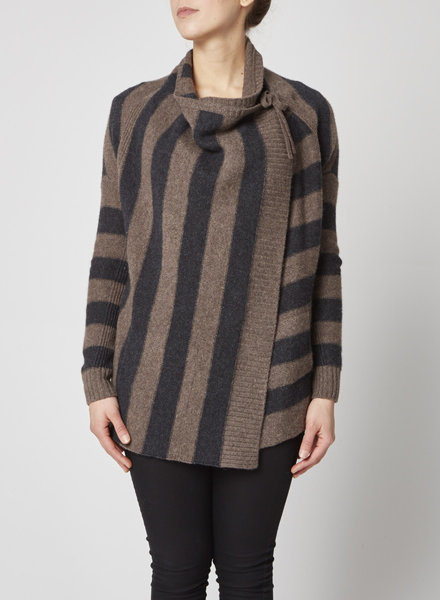 Vince BROWN AND GREY STRIPED CARDIGAN